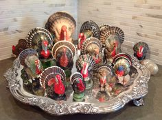 I need to use my silver platter this way next year. Vintage composition turkey collection