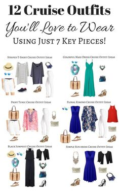 I've created 12 cruise outfits based on 7 key items allowing you to mix & match, pack light and look fantastic on your cruise! Plus size options included! Beach Vacation Packing, Packing List For Cruise, Cruise Vacation, Vacations, Beach Vacation Outfits, Travel Outfits, Disney Cruise, Cruise Attire, Cruise Wear