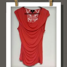 Top Nice sleeveless cowl neck/cowl body top with a lace back.. Iz Byer Tops Tank Tops