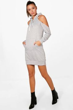 e07bca975049 Tall Amy Cold Shoulder Sweat Dress Sweat Dress, Boohoo, Amy, Cold Shoulder  Dress