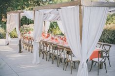 WEDDING INSPIRATION: WHIMSICAL CHIC WEDDING DESIGN Beach Wedding Reception, Chic Wedding, Vintage Tea Parties, Draped Fabric, Town And Country, Vineyard Wedding, Cabana, Wedding Designs, Shabby Chic