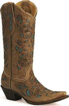 Corral turquoise leather inlay cowgirl boots