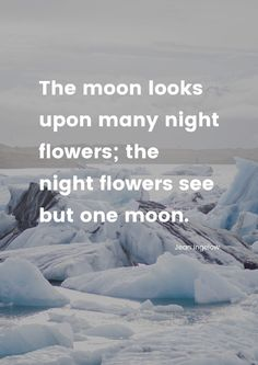 """The moon looks upon many night flowers; the night flowers see but one moon."" by Jean Ingelow printed on high quality matte paper available in different sizes"