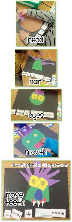 Go Away BIG Green Monster! Craft and Sentence Order! Super Cute!!  FREEBIE included!!  dreambigkinders.blogspot.com