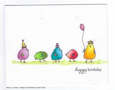 Hello! Here's a birthday card I made that was inspired by birds I saw on the blog Stamping Mathilda here . If you would like to make your o...