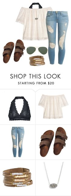 """Untitled #10"" by mwatterson on Polyvore featuring Free People, H&M, Frame, Birkenstock, Kendra Scott and Ray-Ban"