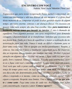 Encontro com você, texto de Vera Lúcia Valentim