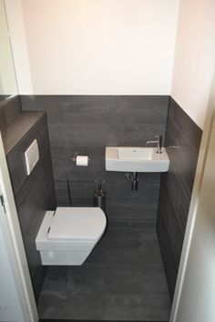 Small Toilet Design, Small Toilet Room, Small Space Bathroom, Small Sink, Bathroom Design Small, Bathroom Interior Design, Modern Toilet Design, Bathroom Under Stairs, Wc Bathroom