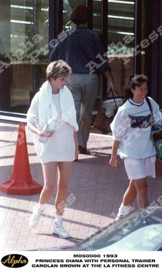 1993 .PRINCESS DIANA WITH PERSONAL TRAINER CAROLAN BROWN AT THE LA FITNESS CENTRE