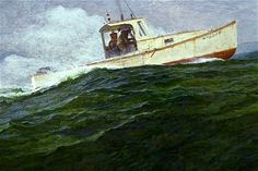 """""""Return to Jonesport"""", alkyd.  Detail of a painting of a #Maine #Lobsterboat. An older painting. This was used in National #Fisherman."""