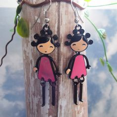 Little Girl Earrings with Movable Joints  by HopeisHipJewelry