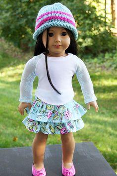 American Girl Doll Clothes - Lace Top, Ruffled Skirt, Handknit Hat, 18 inch doll clothes,  AG clothes,  lace, Baseball style shirt