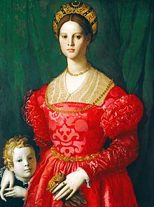 Maria de' Medici (1540-1557) by Agnolo Bronzino (1503-1572) ~ Daughter of Cosimo I de' Medici, Grand Duke of Tuscany and Eleonora di Toledo. Maike Vogt-Lüerssen believes the woman is Maria de' Medici, depicted with her younger brother Antonio. Both children died young.