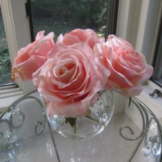 Beautiful silk flower pink rose arrangement