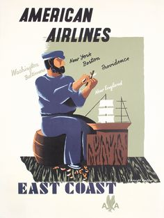 Original 1940s Airline Travel Poster KAUFFER East Coast