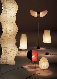 design japonais : lampes Akari UF4 33N, 1N, Isamu Noguchi, 1951, papier, éclairage, inspiration Mingei