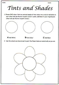 2 Worksheets Middle School Art Activity ce upon an Art Room Tinting and Shading Colour Theory Middle School Art, Art School, Art Handouts, 6th Grade Art, Grade 2, Value In Art, Art Worksheets, Printable Worksheets, Art Curriculum