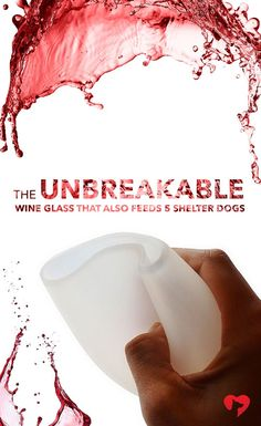 These durable, food grade silicone glasses fold down to make the ultimate portable wine glass! No more worrying about glass or plastic breaking. In fact, you could even say these glasses are �dog tail proof�. ***Every purchase feeds 5 shelter dogs!