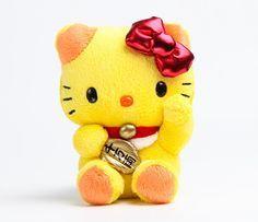 Hello Kitty Mascot Plush: Yellow Lucky Cat