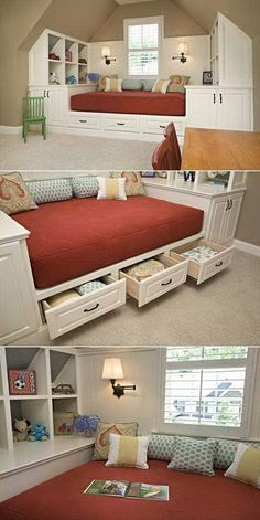 53 Brilliant Bedroom Storage Design Ideas www. 53 Brilliant Bedroom Storage Design Ideas www.futuristarchi… 53 Brilliant Bedroom Storage Design Ideas www. Decor, Interior Design, Small Spaces, Built In Bed, Home Remodeling, Daybed With Storage, Home, Home Diy, Home Decor
