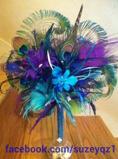 Peacock wedding bouquet - feather bouquets - feather flower - peacock wedding feather arrangements - boutonnieres sold separately.. $125.00, via Etsy.