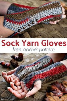 Sock Yarn Gloves: Free Crochet Pattern These Sock Yarn gloves are perfect for holding pumpkin spice lattes while cheering on your favorite football team. These gloves take one skein of sock yarn! Fingerless Gloves Crochet Pattern, Fingerless Mitts, Crochet Socks, One Skein Crochet, Crochet Scarves, Crochet Headbands, Blanket Crochet, Crochet Shawl, Crochet Hand Warmers
