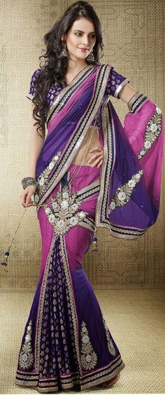 USD 88.7 Dark Purple Georgette Lehenga Saree 42453