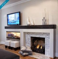 Asymetrical fireplace with TV on 1 wall: We suggest facing the brick with a gray slate and extending the mantel across the built-in. After removing the existing built-in, our contractors would dry wall the upper portion and reinforce the wall to support a tv arm mount that would allow the tv to swivel and extend for better viewing.