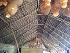 Roof structure of bamboo building.