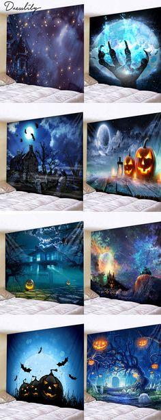 2020 Halloween Tapestries Best Online For Sale Halloween Tags, Cheap Halloween, Halloween Prints, Happy Halloween, Halloween Decorations, Halloween Party, Halloween Ideas, Diy Halloween Dekoration, Miniature Fairy Gardens