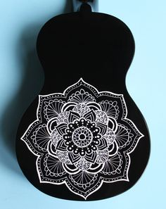 Black Ukulele with White Mandala by UkuLeeShee on Etsy – tipos de guitarra y tocar guitarra Ukulele Art, Ukulele Songs, Ukulele Chords, Guitar Art, Cool Guitar, Acoustic Guitar, Ukelele Painted, Painted Guitars, Mandala Art