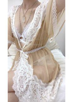 Chelsea Cross-back Sheer Robe - Ballet/White – Uye Surana - Lingerie & Clothing