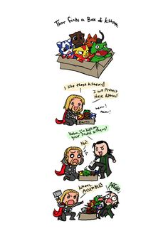"Super Cute ""Avengers"" Fan Art but, where is Hawkeye and agent Coulson. Though you know, HE DIED  he should still be a kitten."