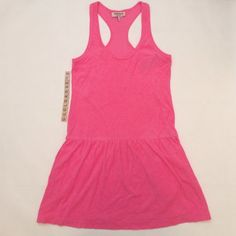 "Juicy Couture pink terry cloth beach coverup Pink terry cloth racer back beach coverup, size S, overall length 35"", 68% cotton/32% modal, machine wash cold. Elastic waist, side pockets. Brand new with tags so it's in excellent condition. No damage/fraying/stains. Has been stored in a non-smoking/pet-free home. No trades or PP. *15% off bundles of 2+ items!* Juicy Couture Swim Coverups"