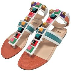 Pre-owned Rainbow sandals (€420) ❤ liked on Polyvore featuring shoes, sandals, white, ankle wrap sandals, ankle tie sandals, rainbow sandals, fendi sandals and leather ankle strap sandals