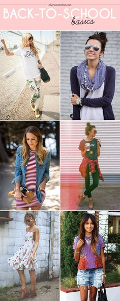 Back-to-School Basics: Stylish Looks for Hitting the Books - More : Make sure to get your back to school wardrobe ready to make mornings a cinch! We have this great guide on must-have items this season. Fall Outfits, Summer Outfits, Cute Outfits, Fashion Outfits, College Wardrobe, College Outfits, School Outfits, Back To School Fashion, College Fashion