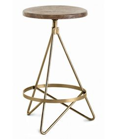 Arteriors Wyndham Wood/Iron Swivel Counter Stool on sale. With Wyndham Swivel Counter stools, your kitchen island or breakfast bar has met its match. Contemporary Bar Stools, Modern Stools, Swivel Counter Stools, Bar Counter, Wood Counter, Brass Wood, Antique Brass, Deco Design, Home Living