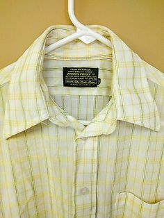 Vintage Sears Men's Store Perma-Prest Yellow Polyester Nylon SS Pocket Shirt