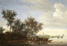 Veerboot met koeien op de Vecht bij Nijenrode - Salomon van Ruysdael (1649)