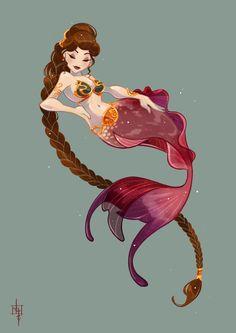 Leia_Mermaid by Tatiana Barbesolle Star Wars, Princess Leia Fantasy Creatures, Mythical Creatures, Sea Creatures, Disney Kunst, Art Disney, Mermaid Illustration, Mermaid Drawings, Mermaid Artwork, Mermaids And Mermen