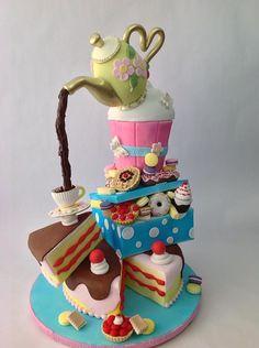 Alice in Wonderland Tea Party Cake Pretty Cakes, Beautiful Cakes, Amazing Cakes, Gravity Defying Cake, Gravity Cake, Unique Cakes, Creative Cakes, Fondant Cakes, Cupcake Cakes