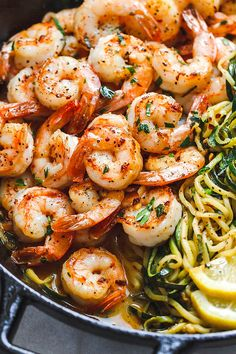 Lemon Garlic Butter Shrimp with Zucchini Noodles - This fantastic meal cooks in one skillet in just 10 minutes. : Lemon Garlic Butter Shrimp with Zucchini Noodles - This fantastic meal cooks in one skillet in just 10 minutes. Easy Healthy Dinners, Healthy Dinner Recipes, Low Carb Recipes, Cooking Recipes, Weeknight Dinners, Crockpot Recipes, Shrimp Recipes Easy, Seafood Recipes, Easy Recipes
