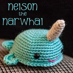 """This is a free pattern for a 4"""" cute narwhal! You'll need two safety eyes and embroidery floss in addition to the yarn."""