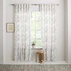 Fading Diamond Jacquard Curtain- 8 of these - for playroom and dining room windows