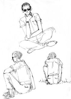 Sketchbook Exercise- Draw 3 versions of someone sitting
