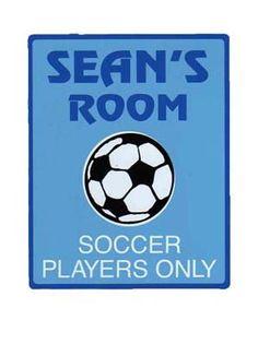 Soccer Bedroom Accessories | BOYS SOCCER Bedroom Door Sign, Personalized