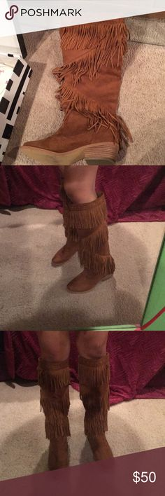 Not rated boots Tan fringe not rated cowgirl boots worn once and in perfect conditions they are half size to big for me and are right under my knee when worn (I'm 5'4) I do have the original box Not Rated Shoes Heeled Boots