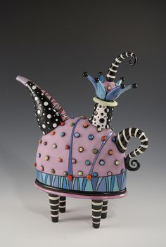 by Natalia Sots... colorful ceramic teapot... just love teapots!