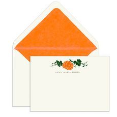 Elegant Note Cards with Engraved Pumpkin  @The Stationery Studio