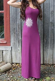 Handmade Mandala Maxi Dress Purple Fall Maxi by theforgivingtree, $40.00
